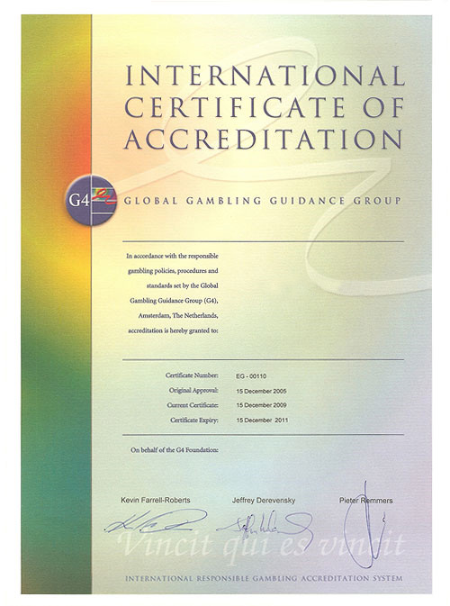 G4 certificate of accreditation